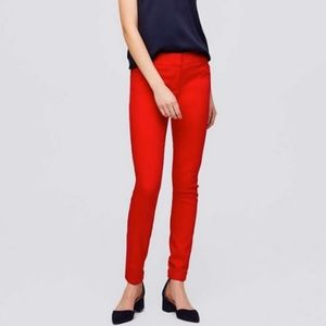 Ann Taylor LOFT Skinny Cuffed Ankle Pant Red 2